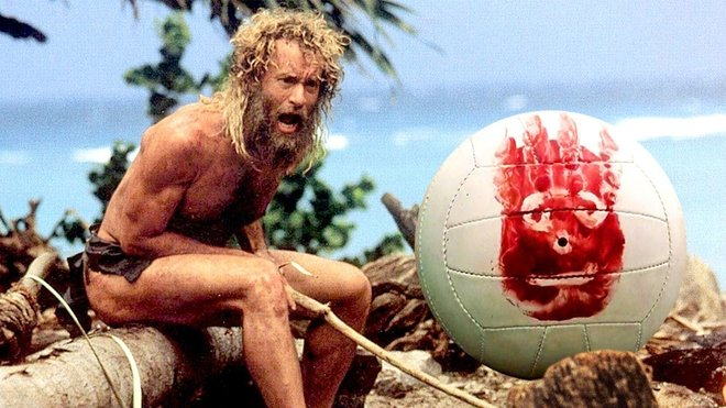 "Tom Hanks and Wilson (soccer ball and best friend) from the movie ""Castaway"""