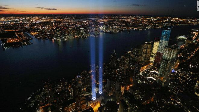 9/11 Night-time memorial of light in New York City.