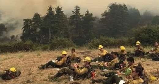 Firefighters resting