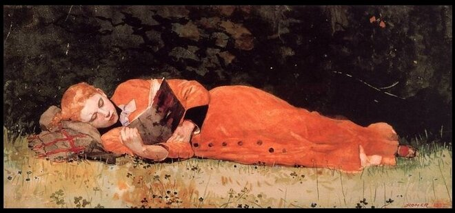 """The New Novel"" by Winslow Homer - 1877"