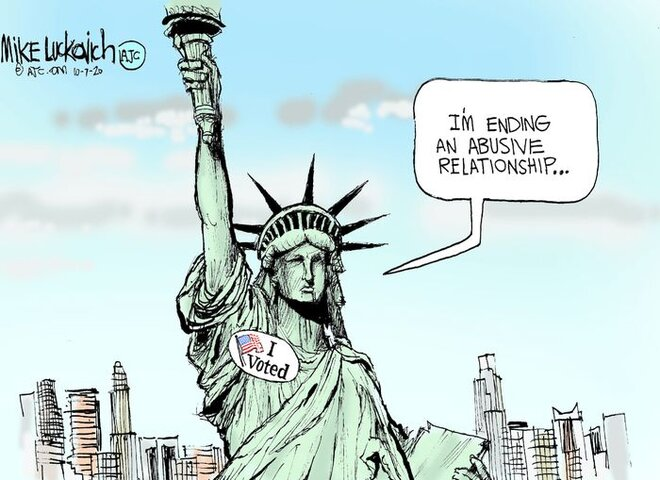 "Lady Liberty has voted and is saying "" I'm ending an abusive relationship..."""
