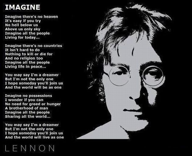 "Photo of John Lennon alongside the lyrics to ""Imagine"""