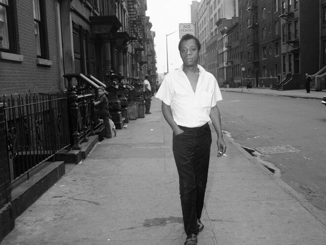 James Baldwin on a New York street